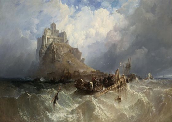 Stanfield, (William) Clarkson Frederick: Mount St (Saint) Michael, Cornwall, England. Marine Fine Art Print/Poster. Sizes: A4/A3/A2/A1 (003474)